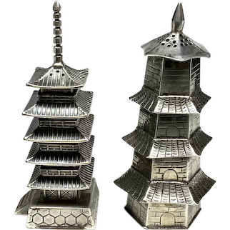 Silver Japanese Pagoda Salt and Pepper Shaker Set, Asahi