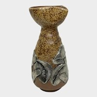 Japanese ceramic and Silver mushrooms Sake pitcher, Bizen Yaki