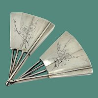 Sterling Silver Japanese Fan Personal Salt and Pepper Shakers