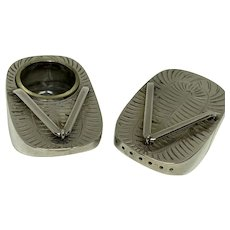 Japanese Sterling Geta Salt and Pepper Shakers, silver flip flops
