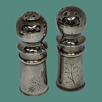 Sterling Silver Japanese Kokeshi Doll Salt and Pepper Shakers Set