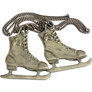Vintage Pendant, Pair of Pewter Skates on Chain, Made in Canada