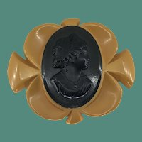 Rare Bakelite Cameo Brooch in black and yellow