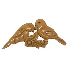 Butterscotch Bakelite Carved Lovebird Pin