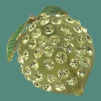 Sparkling Lemon Vintage rhinestone brooch