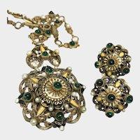 Splendid Antique Pendant and Earring Set