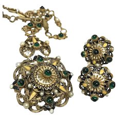 Splendid Antique Pendant and Earring Set