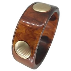 Elegant Rootbeer Bakelite Bangle with Brass Dots