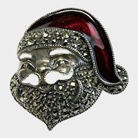 Judith Jack Santa Pin, Sterling Silver, Marcasite and Enamel