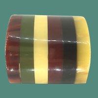 Bakelite Geometric Striped Multi Color Brooch