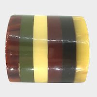 Bakelite Geometric Striped Multi Color Brooch