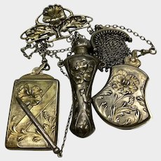 Art Nouveau American Chatelaine with Four Chains, Perfume, Change Purse, Compact and Needle Case