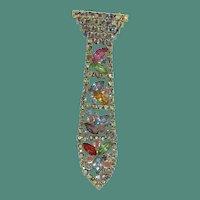 Rainbow Rhinestone Tie Brooch, multi color articulated pin