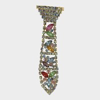 Rainbow Rhinestone Tie Brooch, multi color articulated pin