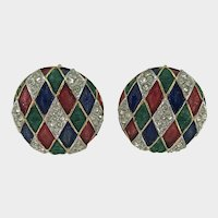 Festive Harlequin Vintage Button Earrings by Boucher