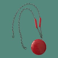 Candy Apple Red Bakelite Disk Necklace