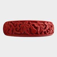Vintage Carved Cinnabar Bangle with Foliate Design