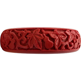 Vintage Carved Cinnabar Bangle with Foliate Design
