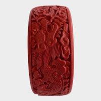 Large Vintage Carved Cinnabar Bangle Bracelet with Dragon Design