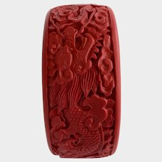 Large Vintage Carved Cinnabar Bangle Bracelet with Dragon Design