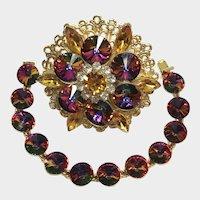 Sparkling Vintage Watermelon Crystal Brooch and Bracelet Set