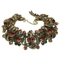 Warm and Wonderful Vintage Autumnal Rhinestone Bracelet