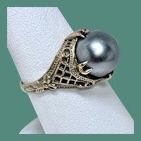 Tahitian Saltwater Cultured Pearl 14 Karat Filigree Ring, Size 7.5