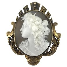Achingly Elegant Victorian Flora Cameo Brooch