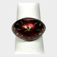 19th Century Gold Ring Red Enamel Dragonfly Probably French