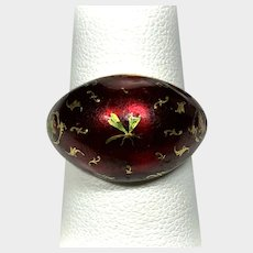 19th Century Red Enamel Dragonfly Dome Ring, Probably French, size 5.5