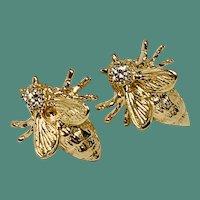 14 Karat Diamond Bumble Bee Earrings for Pierced Ears