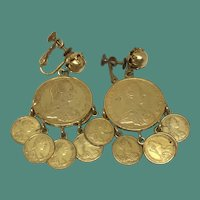 Vintage Miriam Haskell Empress Maria Theresa Coin Earrings