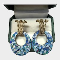 Fabulous Mid Mod Opal Mosaic Day Night Hoop Earrings
