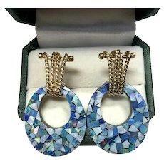 Fabulous Mid Mod Opal Mosaic Day Night Hoop Earrings