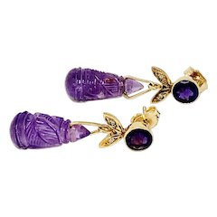 Edwardian Carved Amethyst and Diamond Dangle Earrings for pierced ears