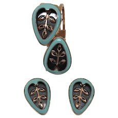 Striking Matisse Copper and Enamel Bracelet and Earring Set