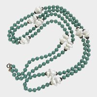 Gorgeous Trifari Aqua and White Bead Glass Bead Flapper Necklace