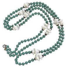 Gorgeous Trifari Aqua and White Bead Glass Bead Flapper Necklace