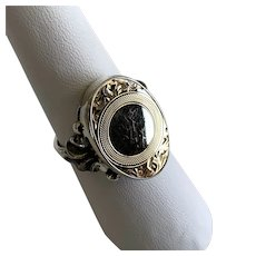 Sterling Silver Handcrafted Ring with Vintage Cufflink Face