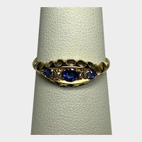 Victorian Ring 18K Yellow Gold Diamond and Sapphires