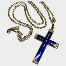 Faberge Blue Enamel Cross in 18K Yellow Gold