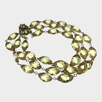 Miriam Haskell Frank Hess Era Lemon Crystal 3-Strand Necklace