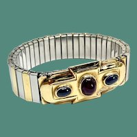 Expandable 18 karat and stainless steel Sapphire and Ruby Bracelet