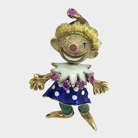 Super Whimsy 18K Enamel and Ruby Articulated Clown Pin