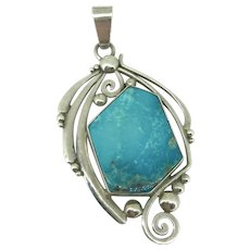 Vintage Navajo Oliver Smith Turquoise Pendant