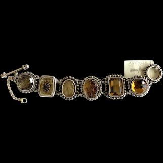 Spectacular Stephen Dweck Sterling Silver Quartz Link Bracelet