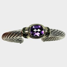 Vintage David Yurman Classic Cable Cuff Bracelet with Amethyst and Tourmaline