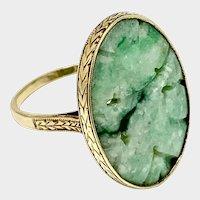Art Deco Era Carved Jadeite Ring, Size 6.5