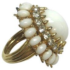 Vintage Mod Jomaz White Cocktail Ring