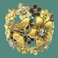 Magnificent Vintage Enamel Rhinestone Butterfly and Flower Clamper Cuff